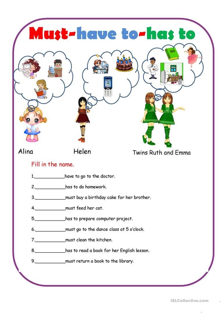 Must-have to-has to worksheet - Free ESL printable worksheets made by teachers