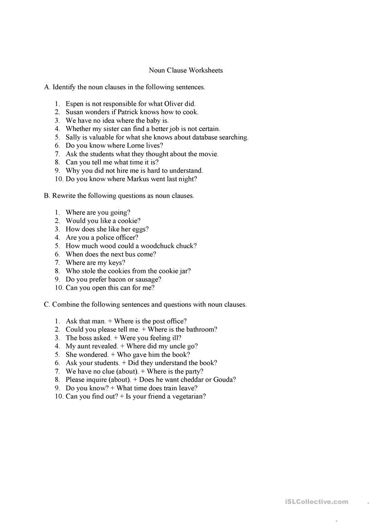 Workbooks identifying noun worksheets : Noun clauses questions and answers worksheet - Free ESL printable ...