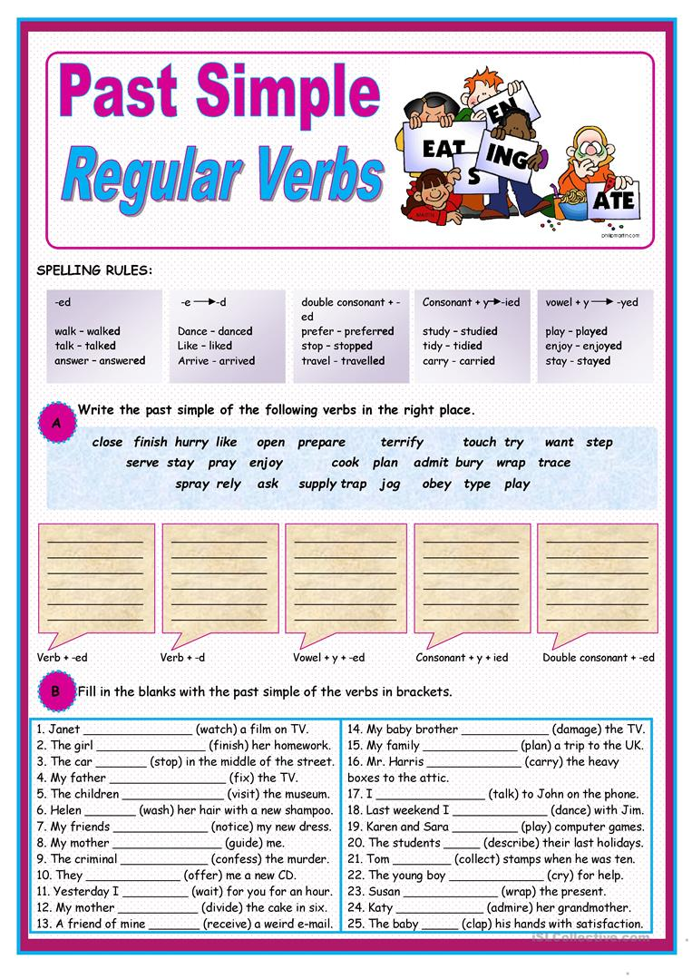 Past Simple of regular verbs - English ESL Worksheets