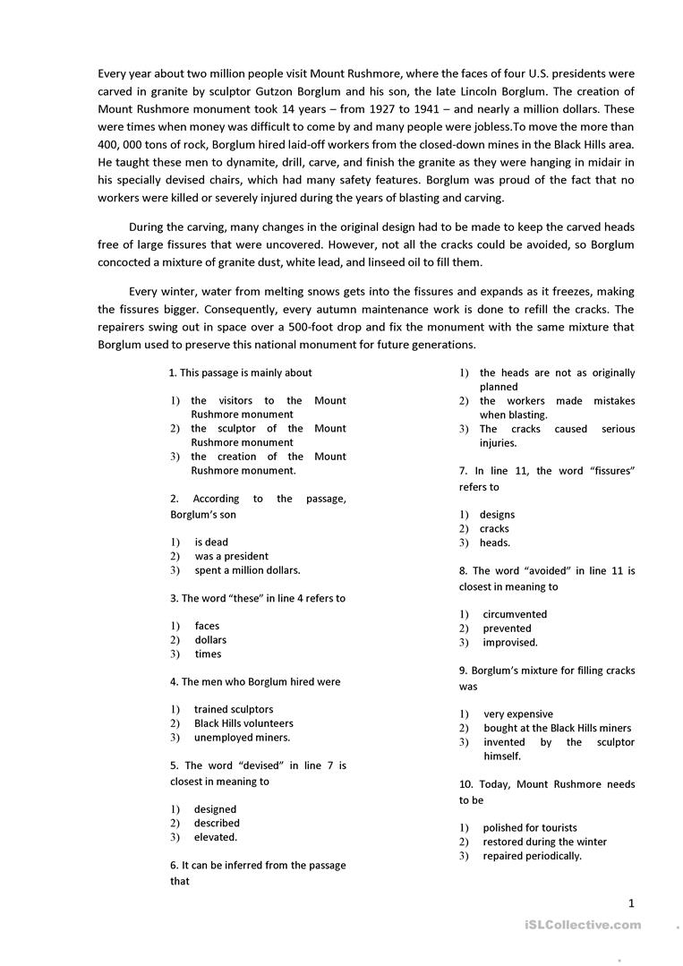 reading with 10 multiple choice questions worksheet