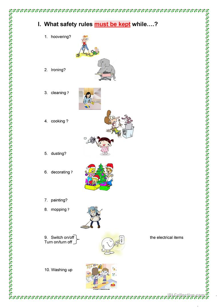 picture about Safety Worksheets Printable referred to as Stability Tips AT Household. - English ESL Worksheets