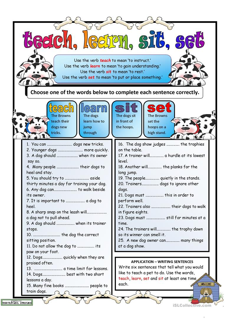 Workbooks teach-nology.com worksheets : Troublesome Verbs PART 3:teach, learn, sit, set worksheet - Free ...