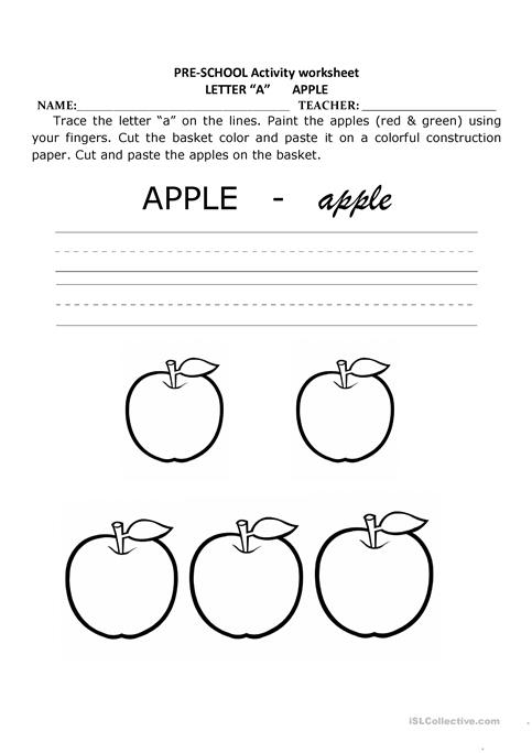 A Is For Apple Pre School Activity Worksheet Free Esl Printable