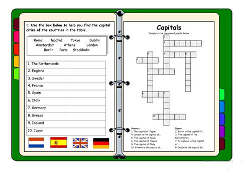 Countries And Capitals Exercise Crossword Worksheet Free ESL - Countries and capitals game
