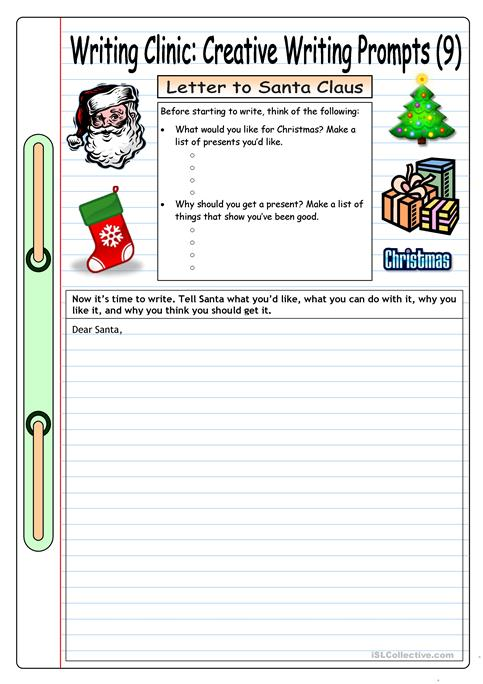 writing clinic creative writing prompts 9 letter to santa claus