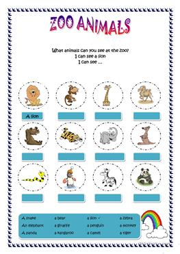 FREE Help the Zoo Animals-Elementary Math and Matching Worksheet ...