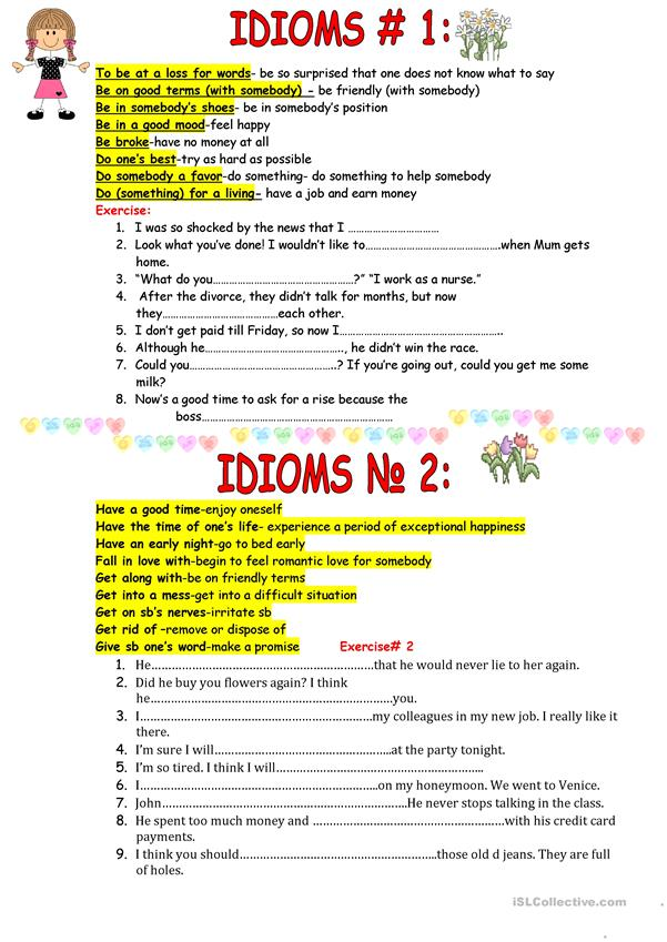 ACTIVE IDIOMS FOR USING IN SPEECH.
