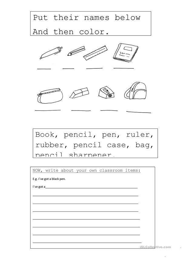 Classroom items activities