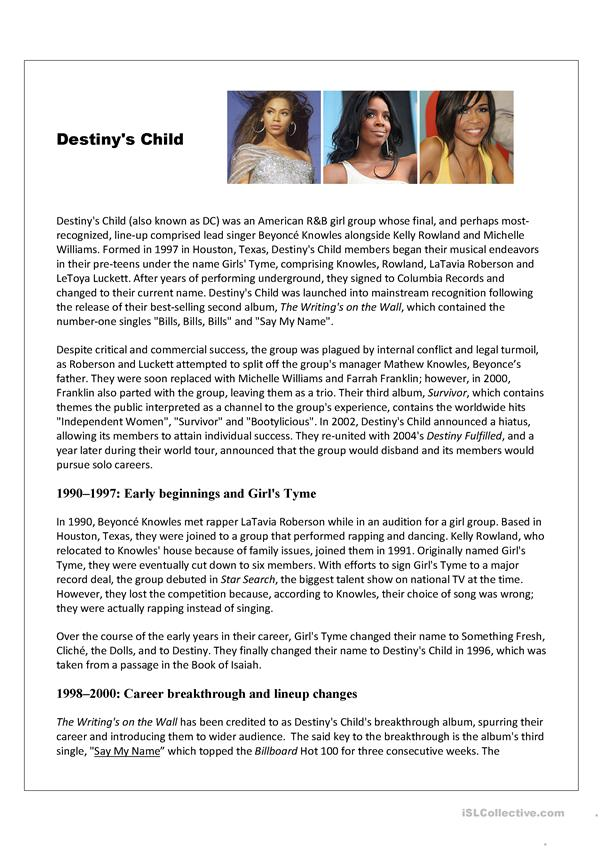 Destiny's Child biography; reading and comprehension, main idea