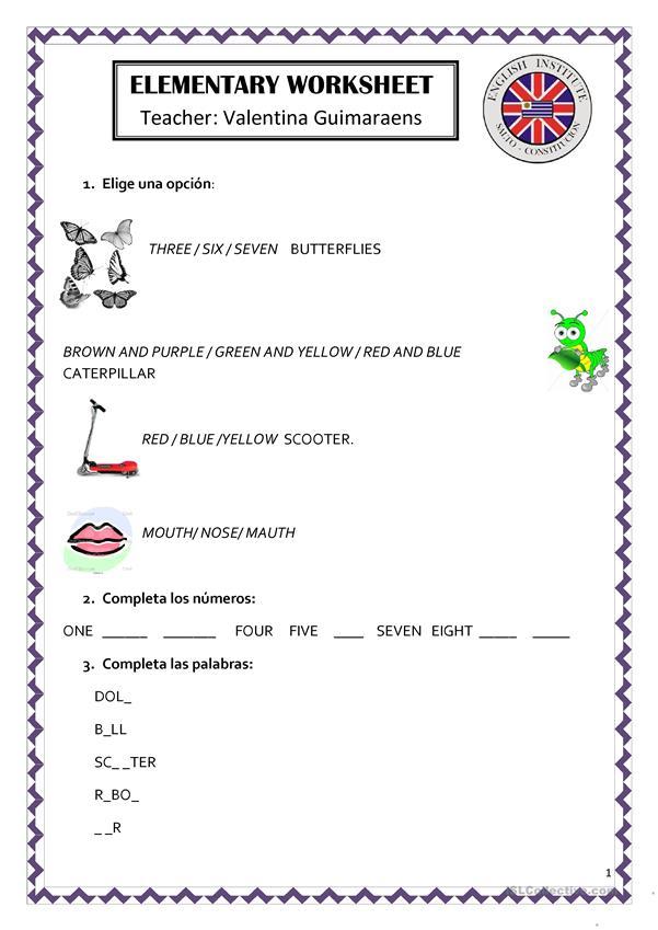 ELEMENTARY WORKSHEET