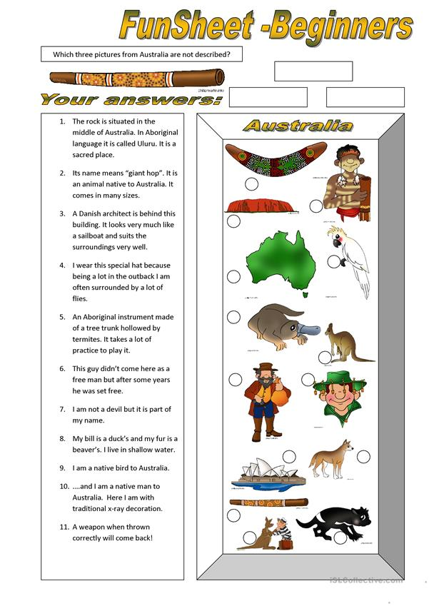 FunSheet for Beginners: Australia