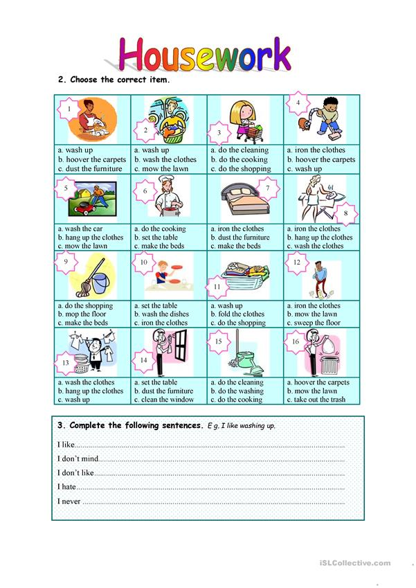 Housework - 6 exercises - 3 pages - with key