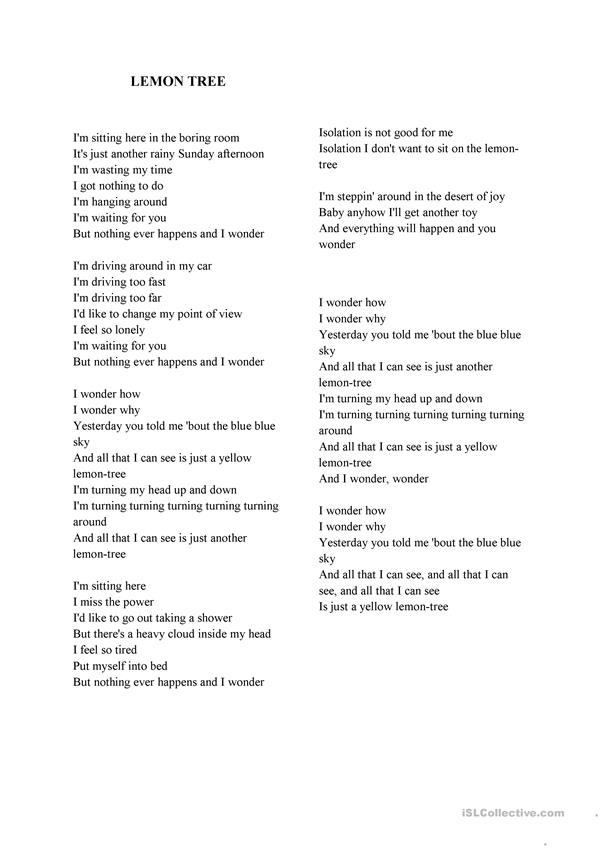 Lemon Tree Lyrics