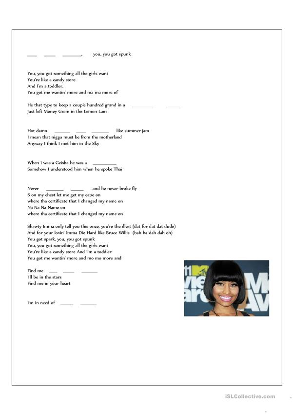 Listening skills, filling in lyrics, Your Love by Nicki Minaj