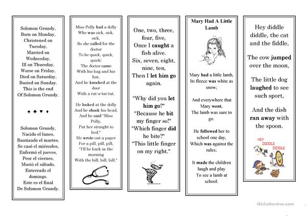 Nursery Rhyme Bookmarks