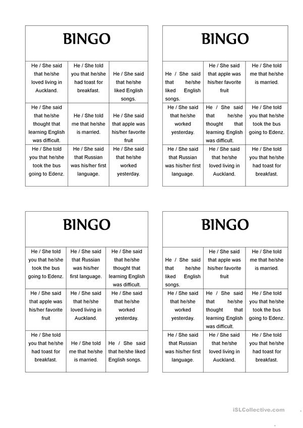 REPORTED SPEECH BINGO