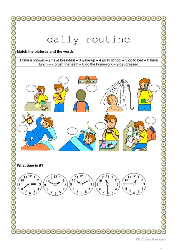 Time and daily routine - Daily routine