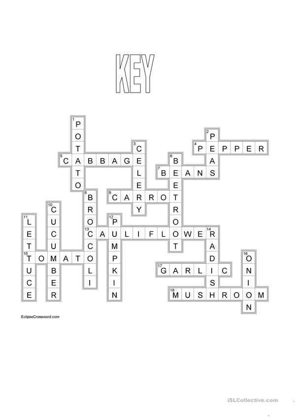 Vegetables crossword +KEY