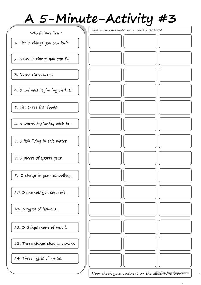 A 5-Minute Activity #3 - ESL worksheets
