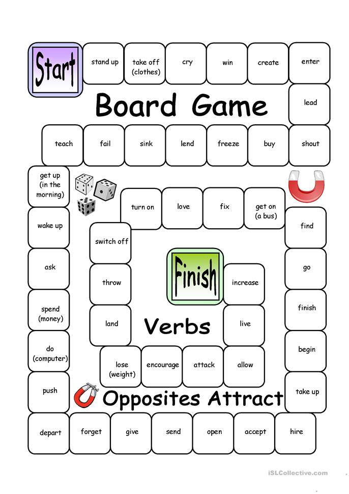 Board Game Opposites Attract Verbs Worksheet Free