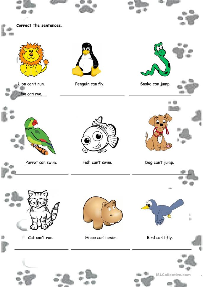Can/can't - ESL worksheets