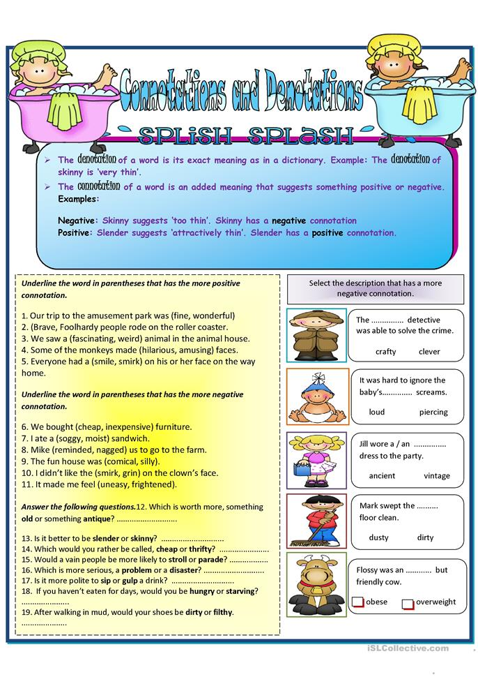 Printables Connotation And Denotation Worksheets connotations and denotation worksheet free esl printable worksheets made by teachers