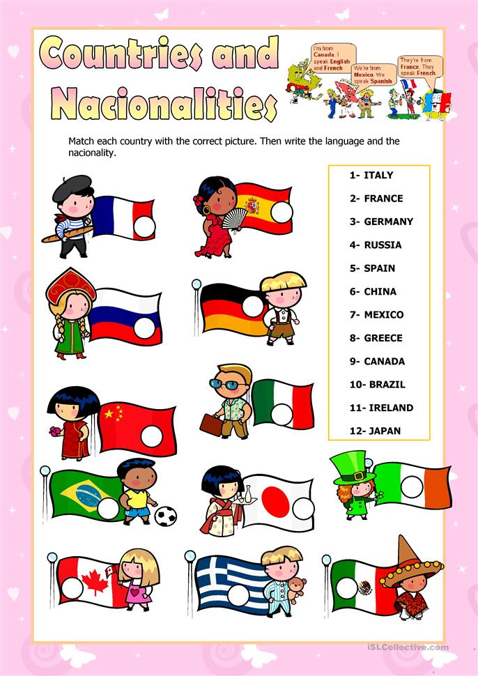 countries and nationalities - ESL worksheets