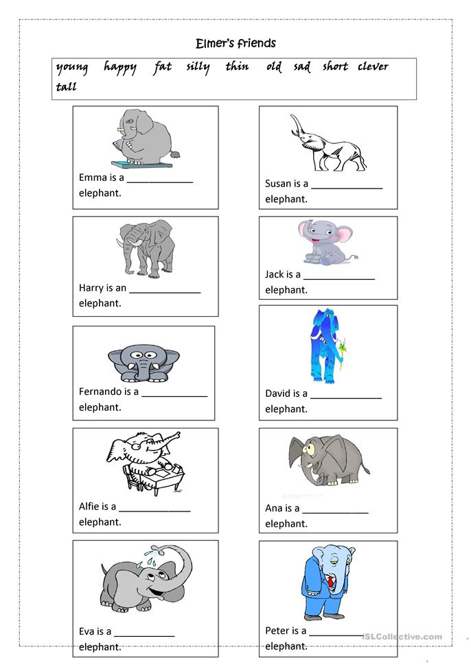 Elmer's Friends: Adjectives - ESL worksheets