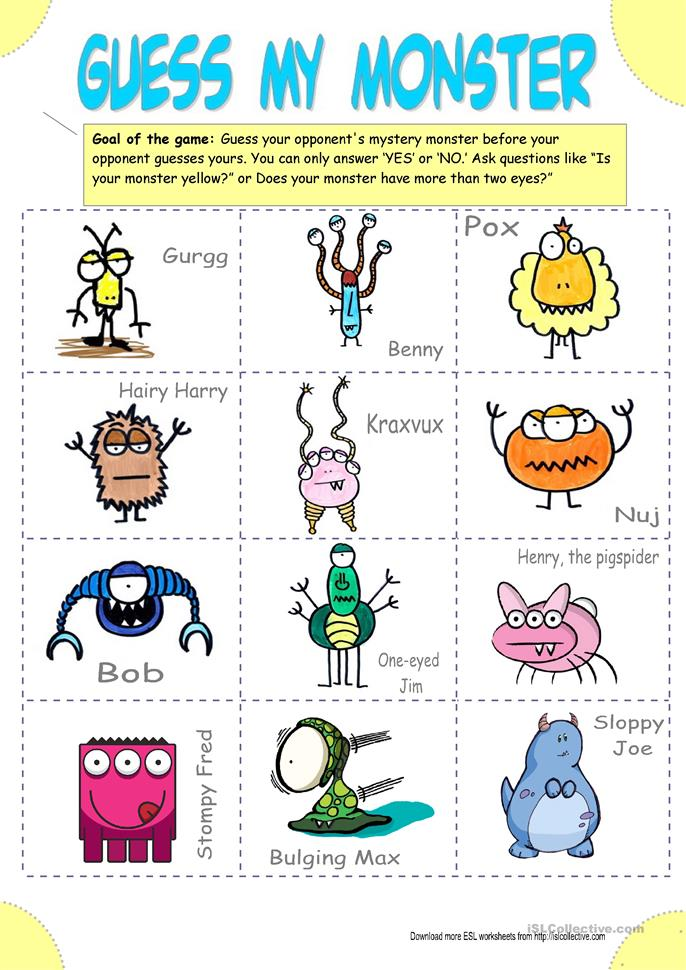 Guess My Monster (Guess who) - ESL worksheets
