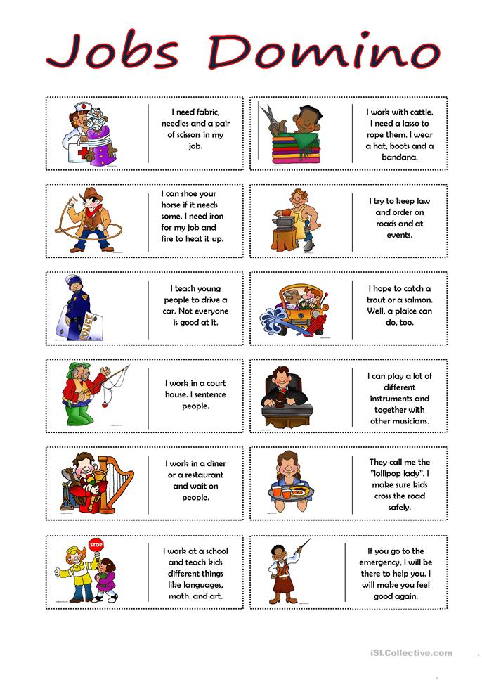 Jobs Domino - ESL worksheets