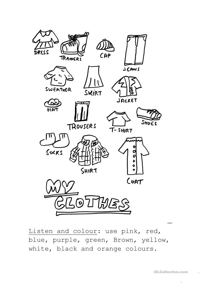 listen and color the clothes worksheet
