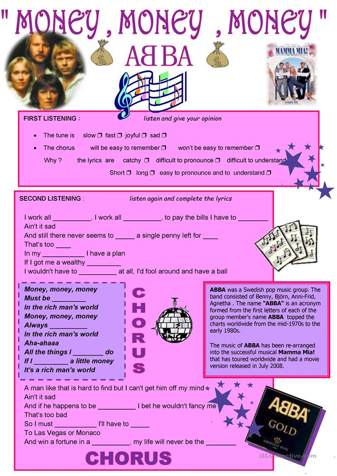 Money Money Money Quot Abba Worksheet Free Esl Printable