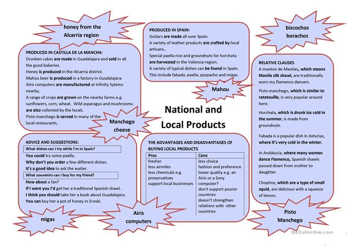 National and Local Products - ESL worksheets