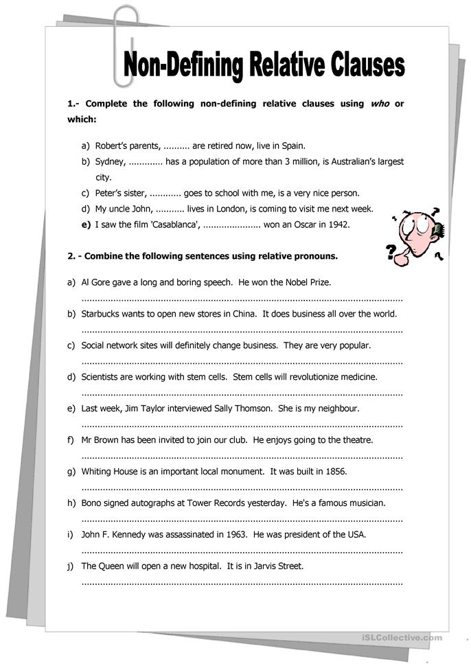 Worksheet Clauses Worksheet non defining relative clauses worksheet free esl printable worksheets made by teachers