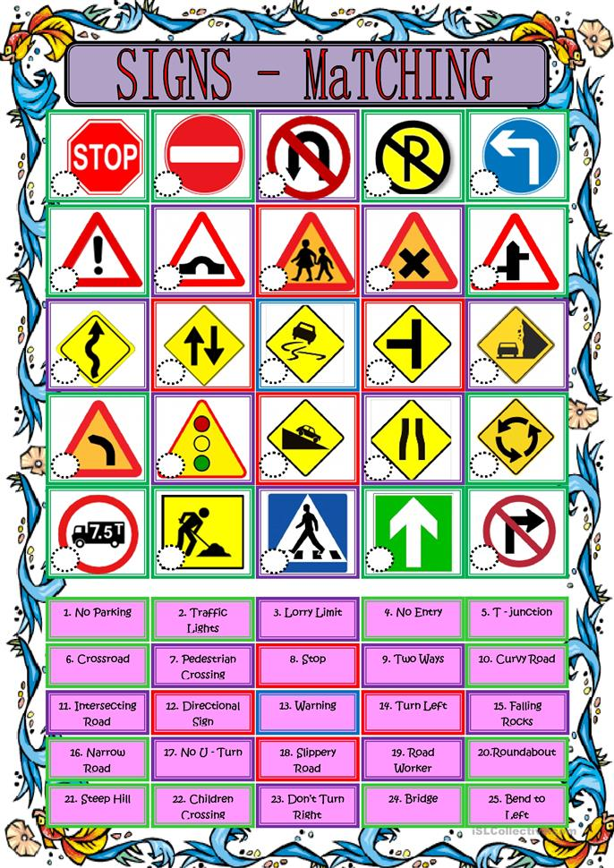 Worksheet Traffic Signs Worksheets 117 free esl sign worksheets road matching