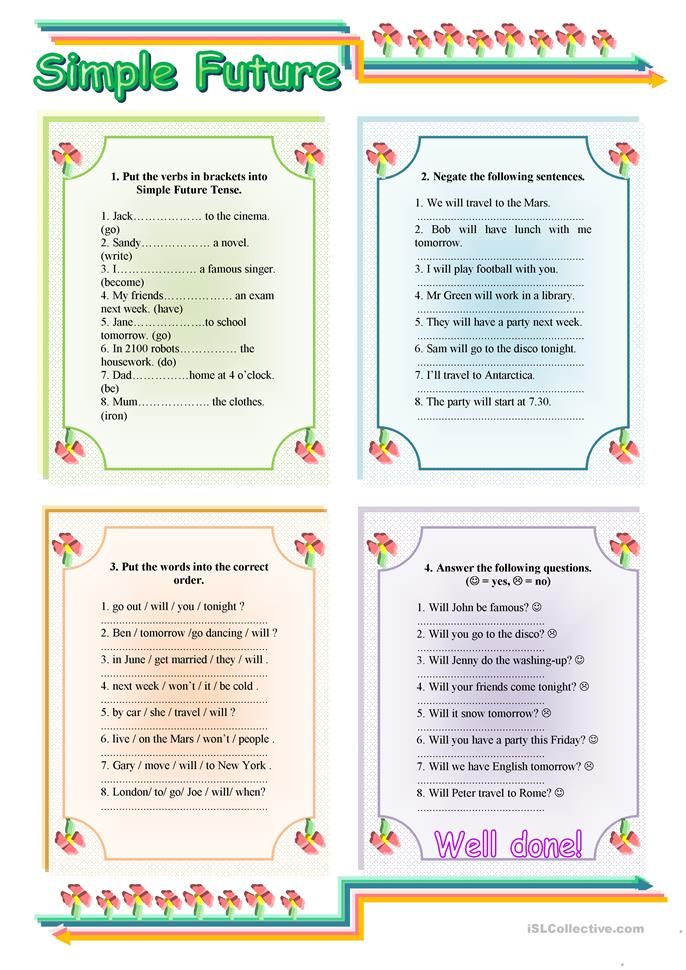 Simple Future Tense - with key - ESL worksheets