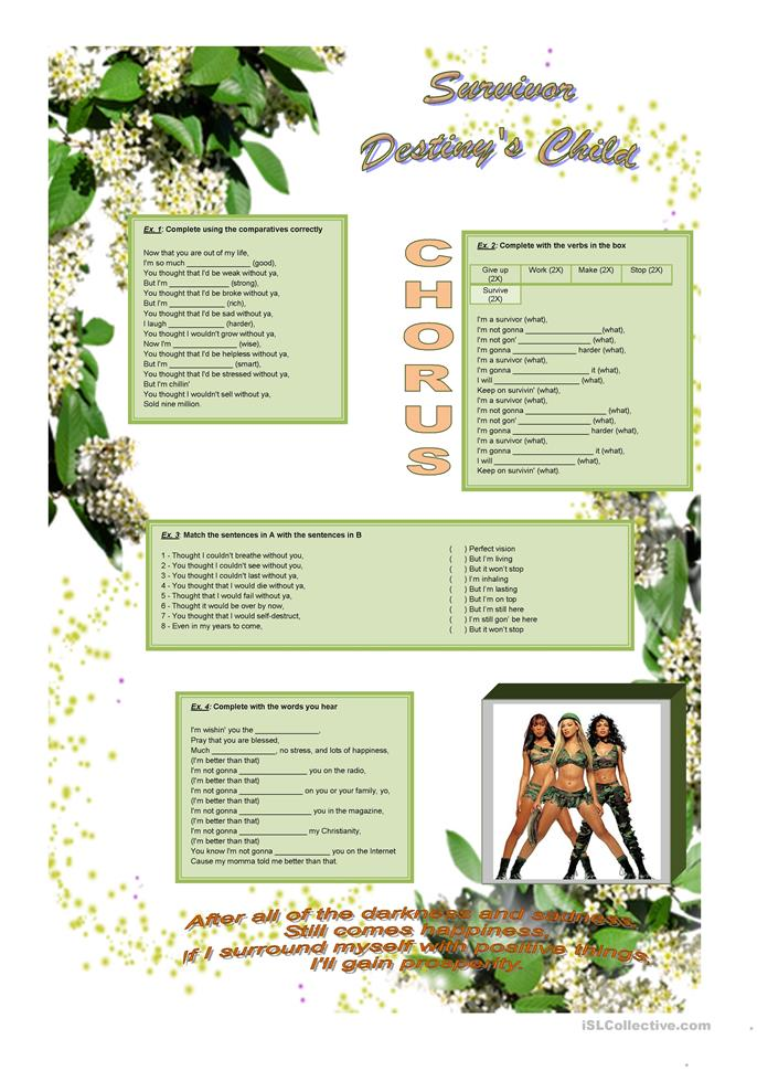 Song: Survivor - Destiny's Child - ESL worksheets