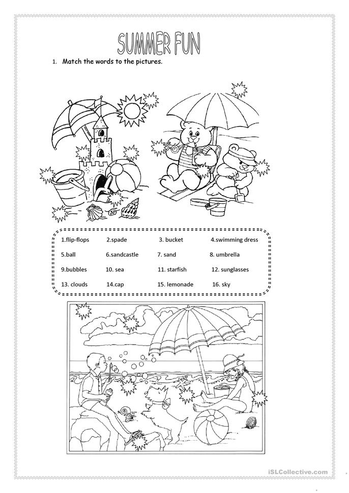 Dynamic image with free printable summer worksheets