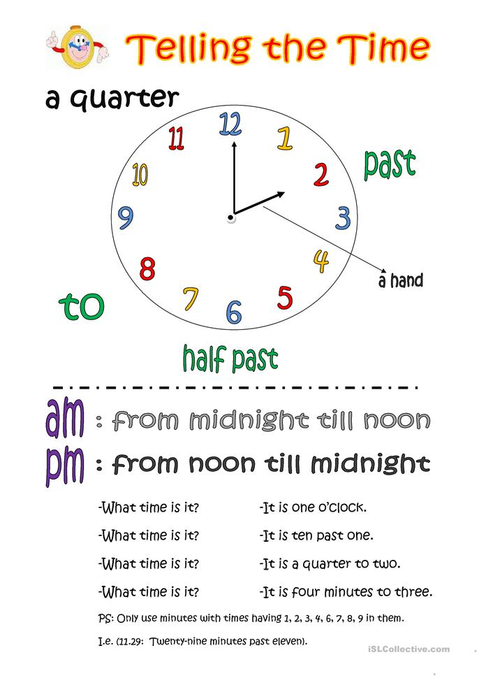 Telling the time (basic knowledge) - ESL worksheets