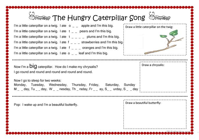 The hungry caterpillar song esl worksheets