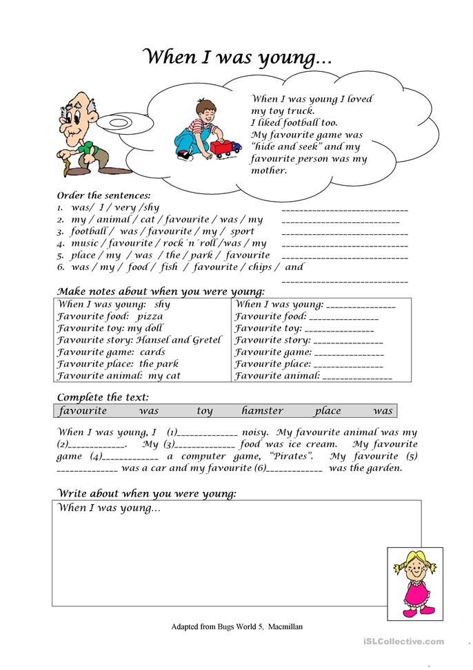 When I was young worksheet - Free ESL printable worksheets made by ...