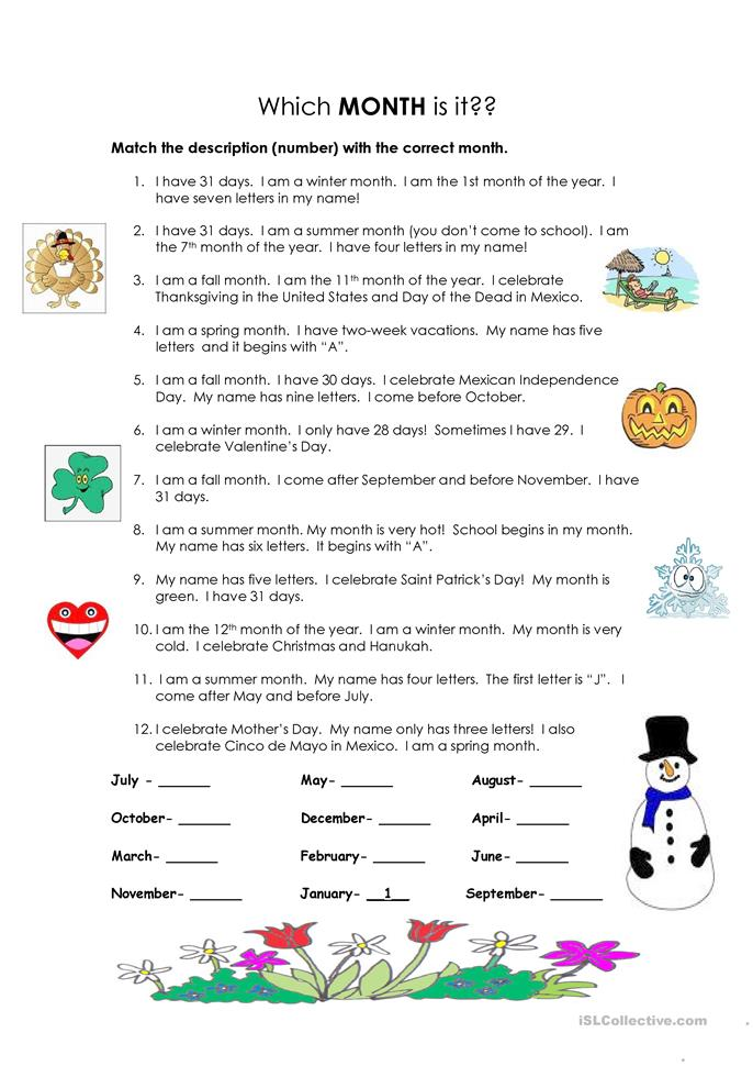 Which month is it? - ESL worksheets