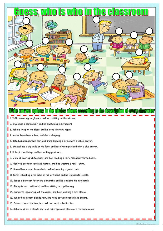 who is who in the class - ESL worksheets