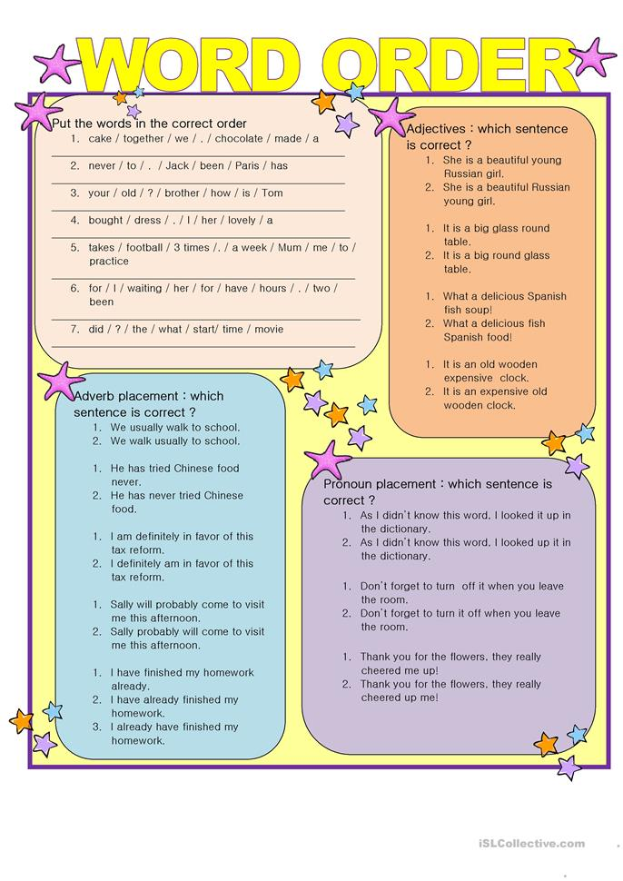 WORD ORDER, key included - ESL worksheets