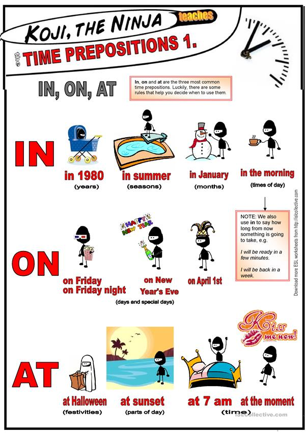 Preposition In Learn In Marathi All Complate: Koji The Ninja Teaches Time Prepositions: IN, ON, AT