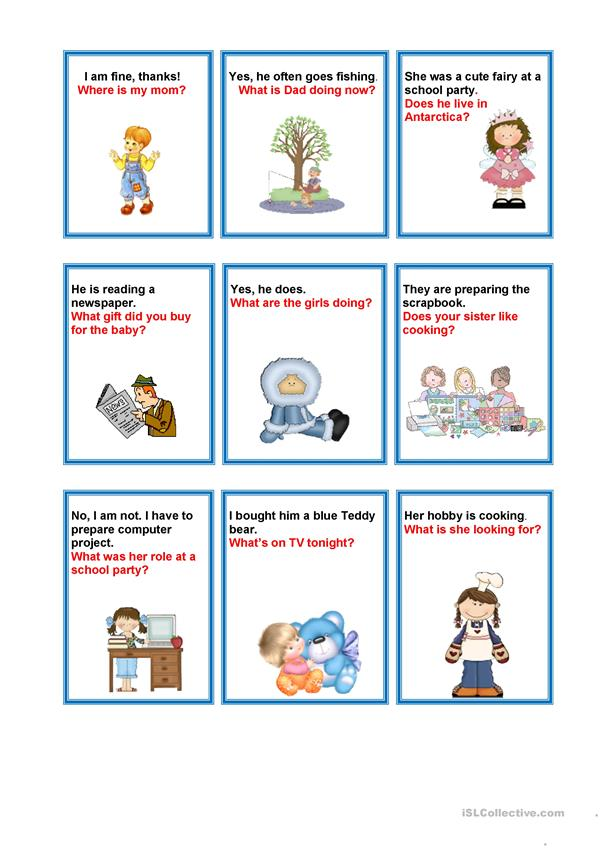 Questions-answers cards game worksheet - Free ESL ...