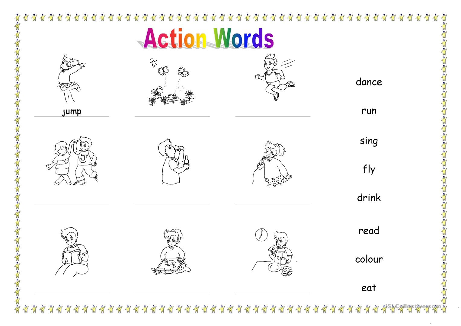 worksheet Action Verb Worksheet 25 free esl action words worksheets worksheets
