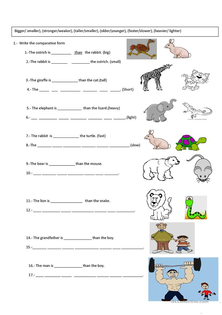 worksheet Worksheets On Comparative Adjectives 73806 free esl efl worksheets made by teachers for comparative exercise