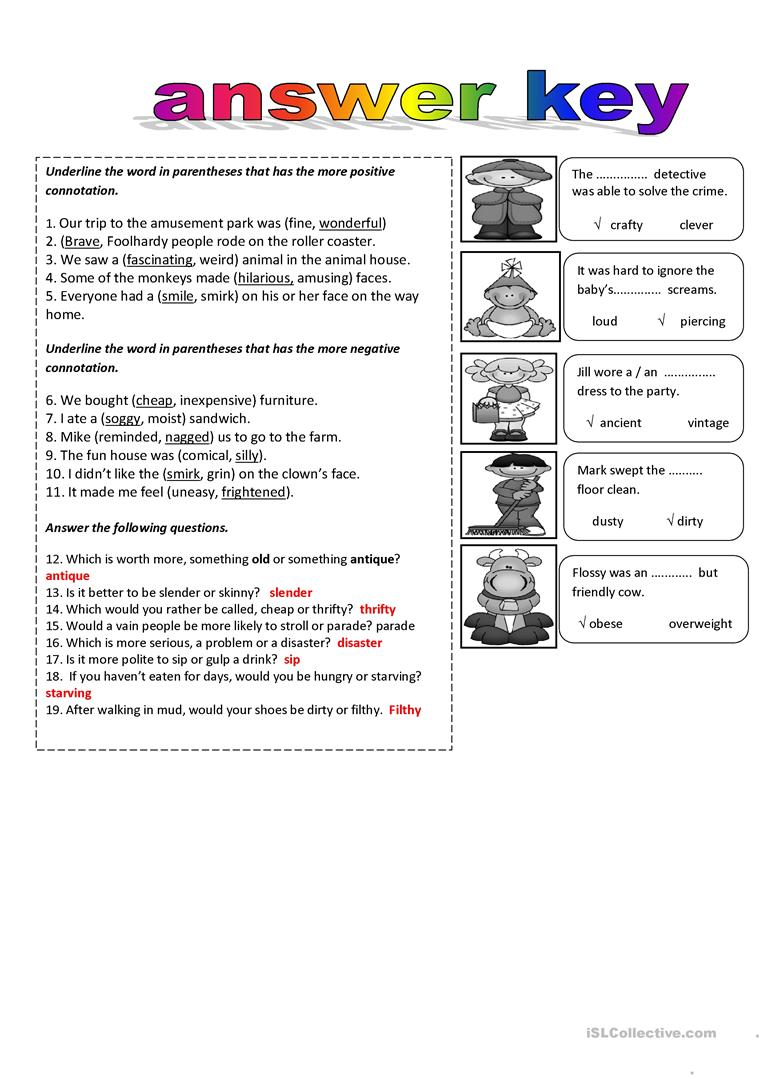 worksheet Connotation Worksheets connotations and denotation worksheet free esl printable full screen