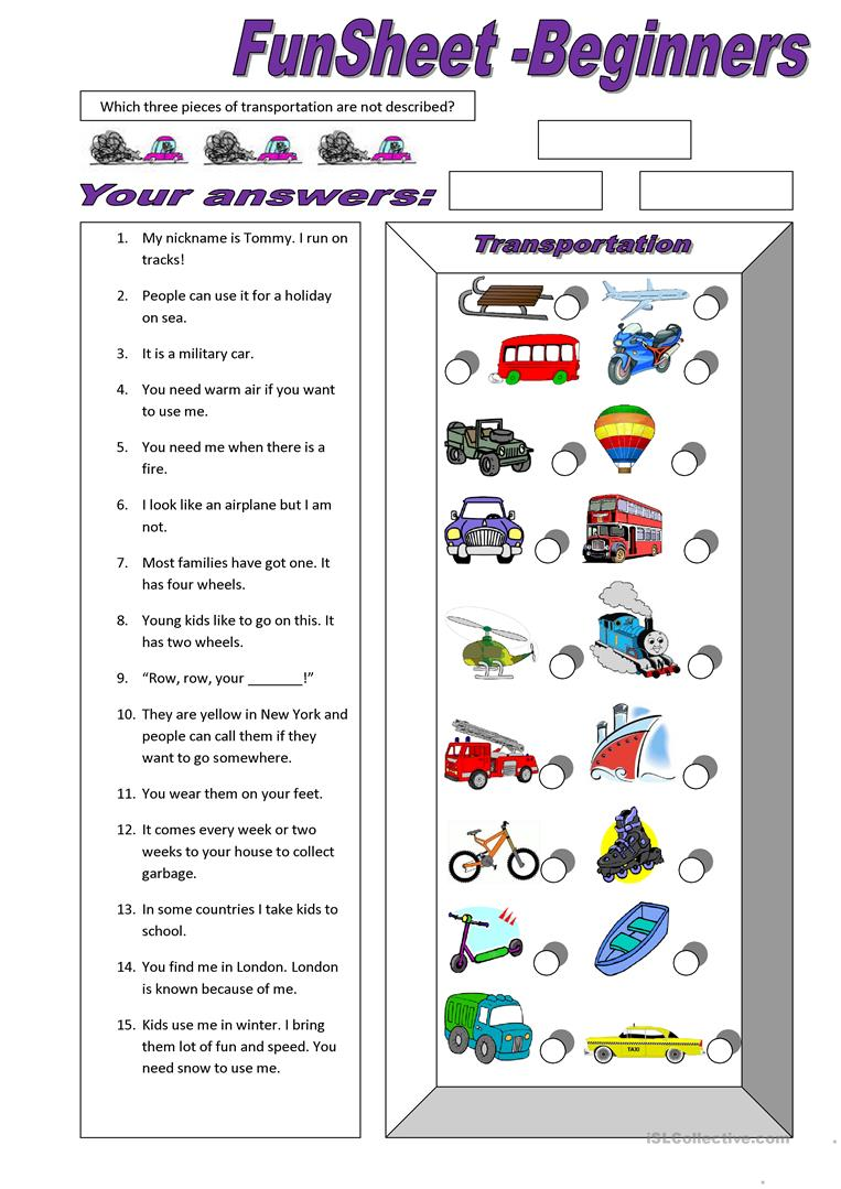 Worksheets Esl Worksheets For Beginners 19 free esl fun sheets worksheets funsheet for beginners transportation